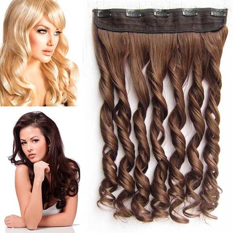 Clip in pás vlasov - lokne 55 cm - odtieň 8 - stredne hnedá