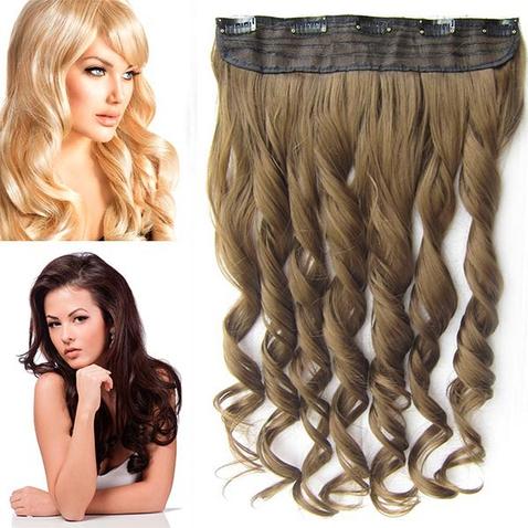 Clip in pás vlasov - lokne 55 cm - odtieň 6P - hnedá