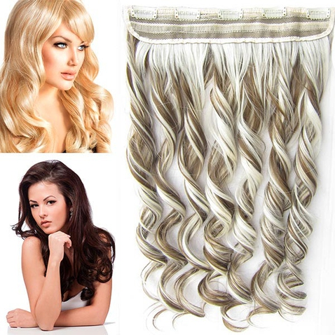 Clip in pás vlasov - lokne 55 cm - odtieň F6P/613 - melír