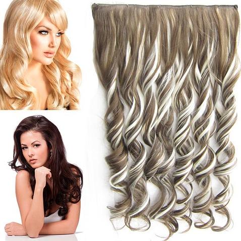 Clip in pás vlasov - lokne 55 cm - odtieň F613/9 - melír
