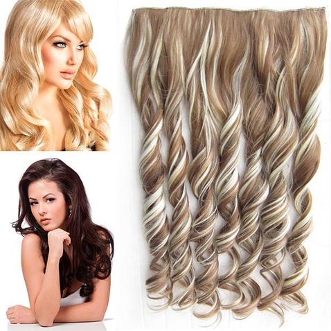 Clip in pás vlasov - lokne 55 cm - odtieň F613/12 - melír