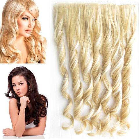 Clip in pás vlasov - lokne 55 cm - odtieň F613/22 - plavý mix