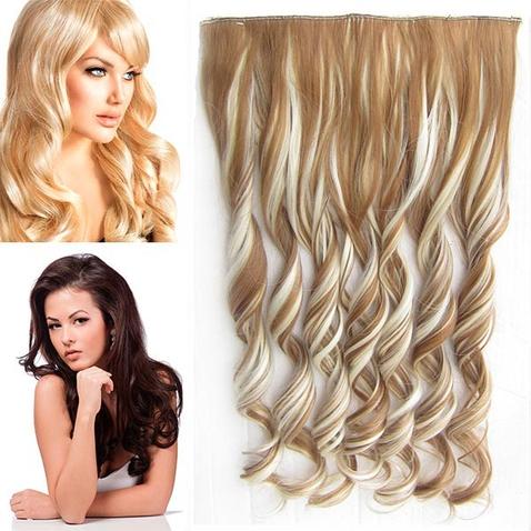 Clip in pás vlasov - lokne 55 cm - odtieň F613/27 - plavý mix