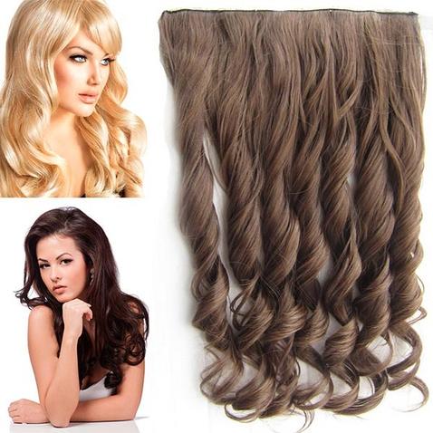 Clip in pás vlasov - lokne 55 cm - odtieň M4/27 - hnedý mix
