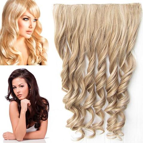Clip in pás vlasov - lokne 55 cm - odtieň M27/613 - mix blond