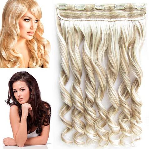 Clip in pás vlasov - lokne 55 cm - odtieň  F16/613 - plavý mix