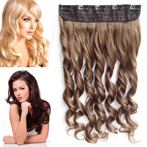 Clip in pás vlasov - lokne 55 cm - odtieň 10 - svetlo hnedá