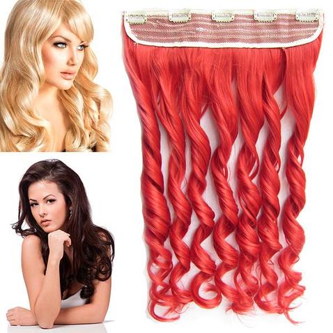 Clip in pás vlasov - lokne 55 cm - odtieň ČERVENÁ