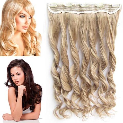 Clip in vlasový pás - lokne 55 cm - odtieň 16 - popolavá tmavá blond