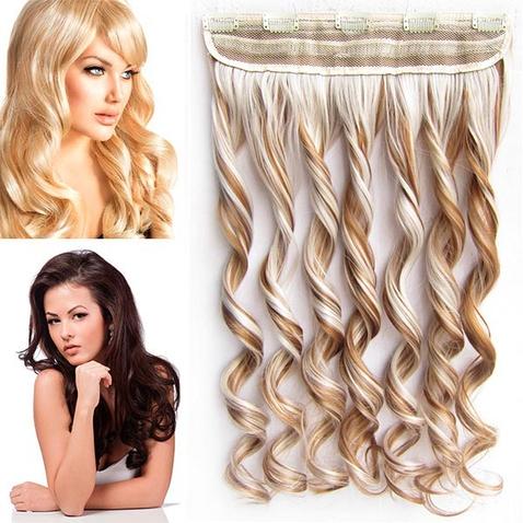 Clip in vlasový pás - lokne 55 cm - odtieň 27/60 - svetlý melír