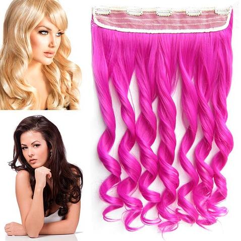 Clip in pás vlasov - lokne 55 cm - odtieň Rose Pink