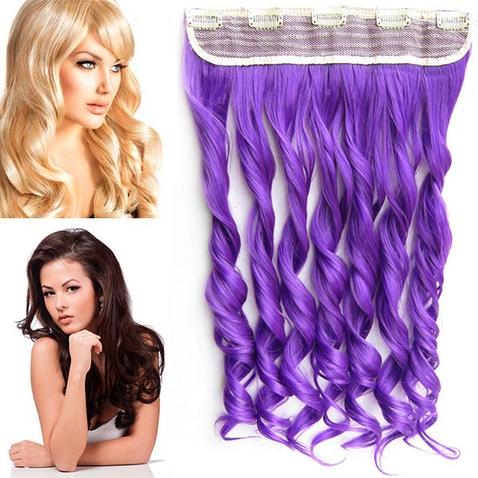 Clip in pás vlasov - lokne 55 cm - odtieň Purple