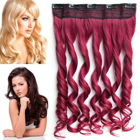 Clip in pás vlasov - lokne 55 cm - odtieň BURG