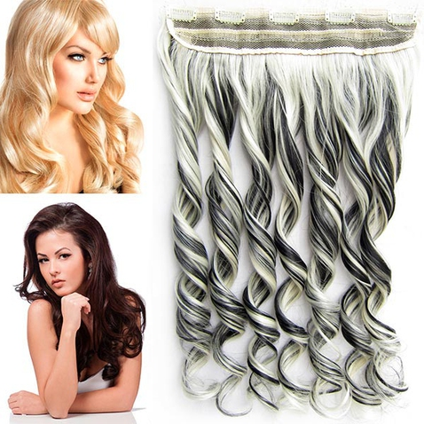 Clip in pás vlasov - lokne 55 cm - odtieň 1B / 613 - melír
