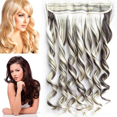 Clip in pás vlasov - lokne 55 cm - odtieň 6/613 - melír