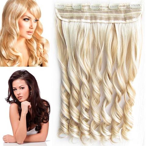 Clip in pás vlasov - lokne 55 cm - odtieň F18/613 - melír