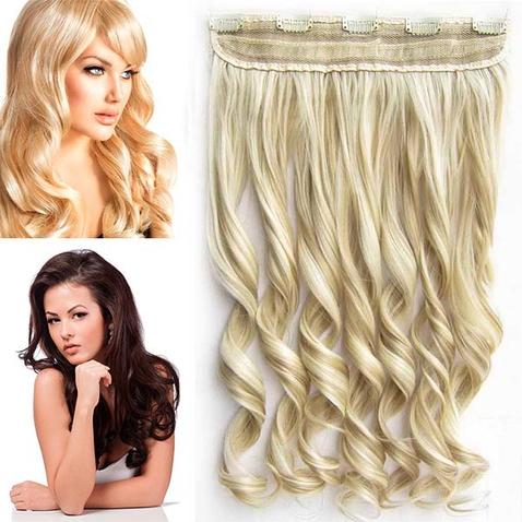 Clip in pás vlasov - lokne 55 cm - odtieň F24/613 - mix blond
