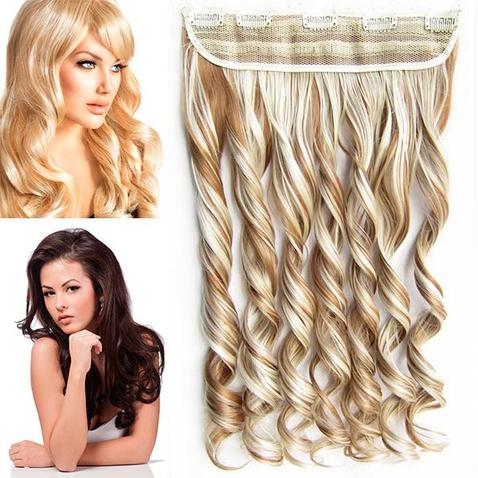 Clip in pás vlasov - lokne 55 cm - odtieň 27/613 - mix blond