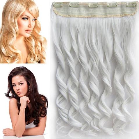 Clip in pás vlasov - lokne 55 cm - odtieň BIELA