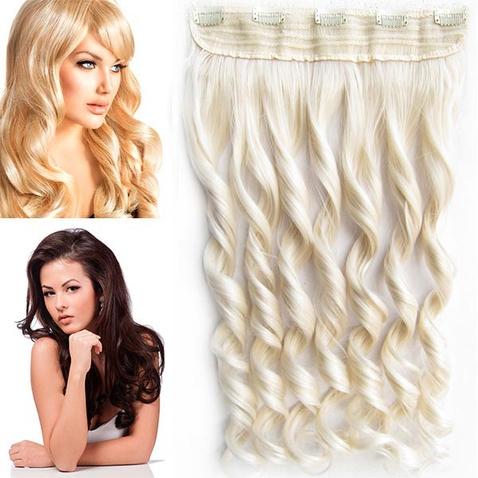 Clip in pás vlasov - lokne 55 cm - odtieň 60 - svetlá blond