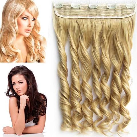 Clip in pás vlasov - lokne 55 cm - odtieň 22 - svetlo plavá