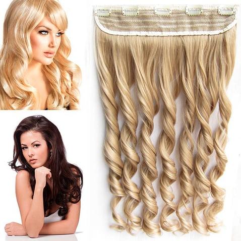 Clip in pás vlasov - lokne 55 cm - odtieň 18 - svetlo plavá