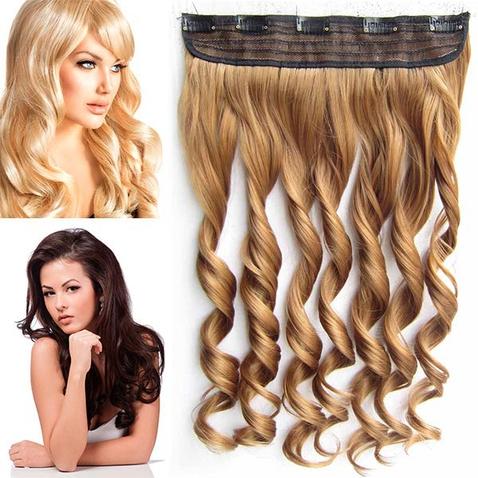 Clip in pás vlasov - lokne 55 cm - odtieň 27 - plavá