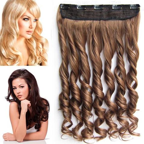 Clip in pás vlasov - lokne 55 cm - odtieň 12 - svetlo hnedá