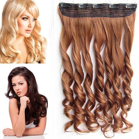 Clip in pás vlasov - lokne 55 cm - odtieň 30 - gaštanová