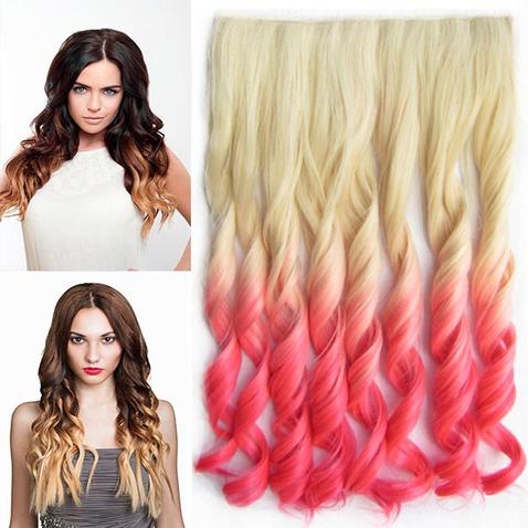 Clip in vlasy - pás, lokne - ombre - odtieň 613 T Pink