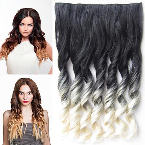 Clip in vlasy - pás, lokne - ombre - odtieň 1B T 613