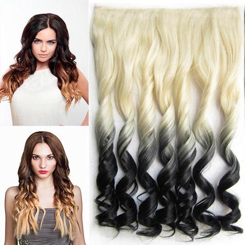 Clip in vlasy - pás, lokne - ombre - odtieň 613 T Black
