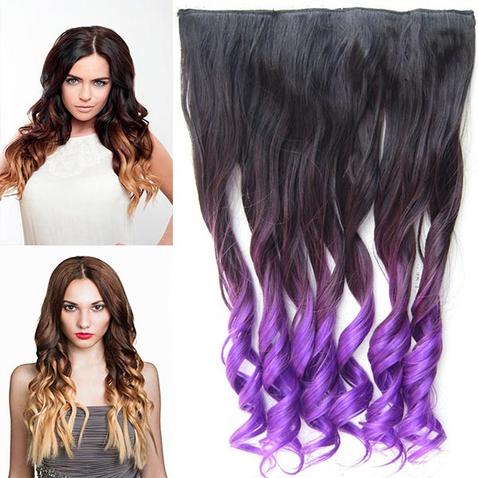 Clip in vlasy - pás, lokne - ombre - odtieň 2 T Purple
