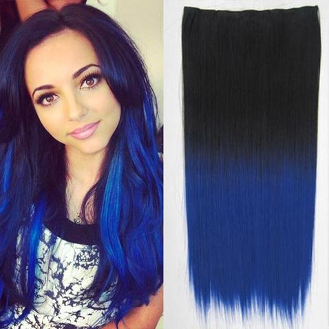 Clip in vlasy - rovný pás - ombre - odtieň Black T Blue
