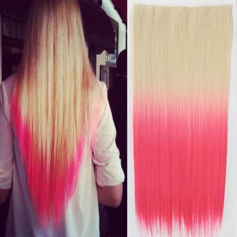 Clip in vlasy - rovný pás - ombre - odtieň 613 T Pink