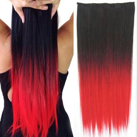 Clip in vlasy - rovný pás - ombre - odtieň Black T Red