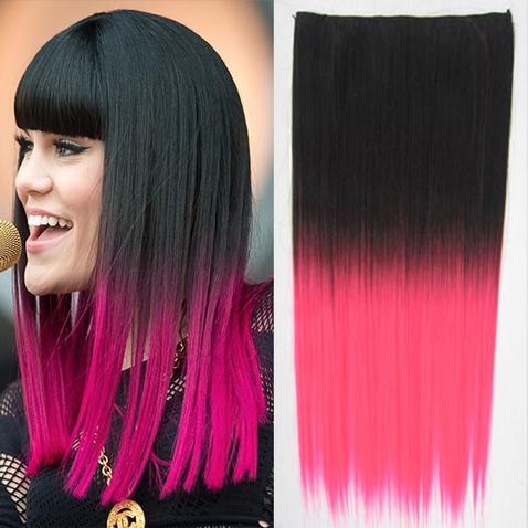 Clip in vlasy - rovný pás - ombre - odtieň Black T Pink