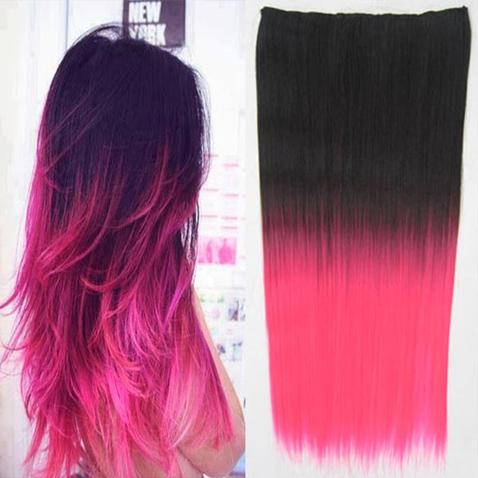 Clip in vlasy - rovný pás - ombre - odtieň 2 T Pink