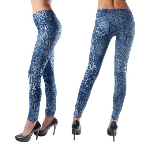 Dámske džínsové - modré legínové nohavice s gepardím vzorom