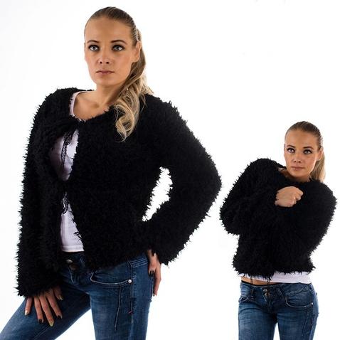 Strapatá bolérková mikina - čierna