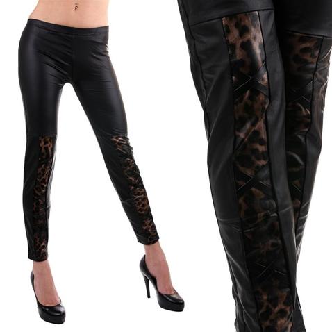 Legíny - vzhľad koža s gepardím vzorom a šnurovaním