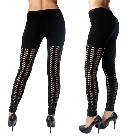 Dámske legínové nohavice - čierne s malými okami