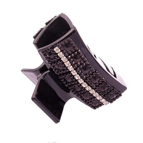 Škripec - spona do vlasov čierna s čiernymi zirkónmi