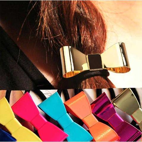 Spona pre tvorbu copu kovová mašlička v MOCCA farbách