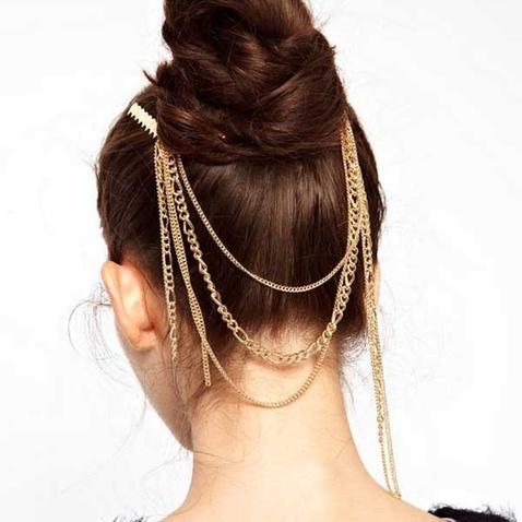 Zlaté retiazky do vlasov so strapcami