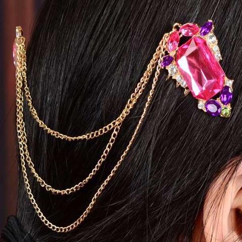 Zlaté retiazky do vlasov s rubínmi