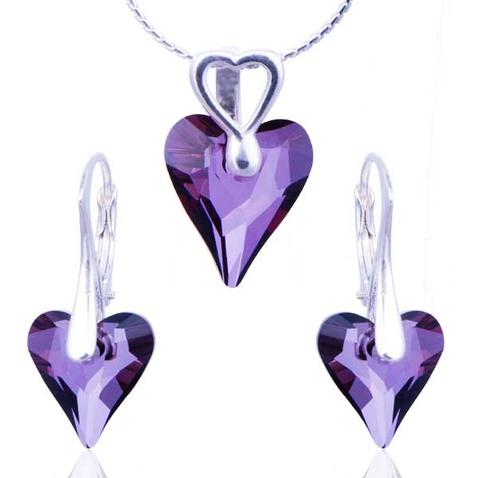 Súprava Swarovski elements - Divoké srdce Crystal lish