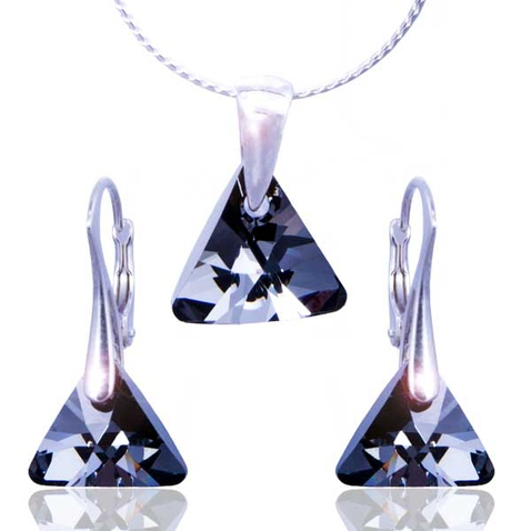Súprava Swarovski elements - Triangle Silver Night