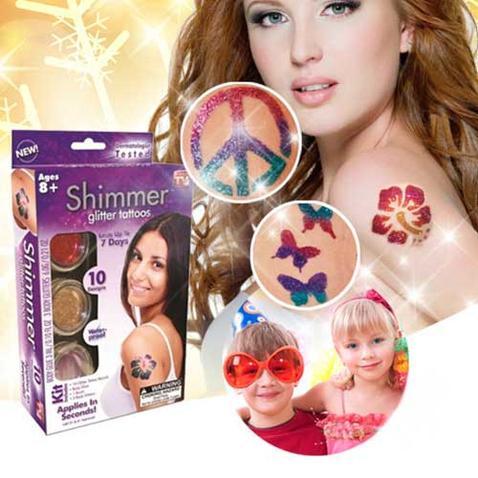 Dočasné farebné tetovanie Shimmer Glitter tattoos
