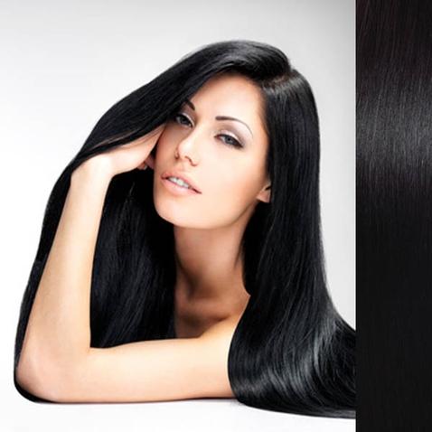 Clip in vlasy ľudské - Remy 105 g - pás vlasov - 1# - uhľovo čierna